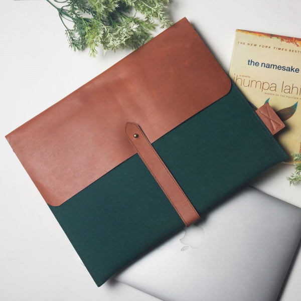 Leather & Canvas Laptop Folio - Green