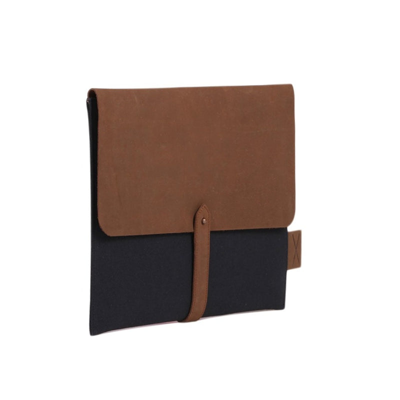 Leather & Canvas Laptop Folio - Blue
