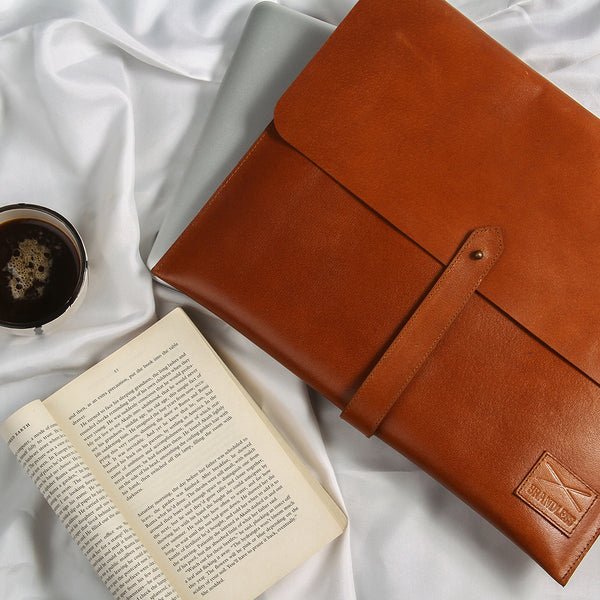Leather Laptop Sleeve - Tan