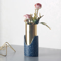 Fuse Speckled Vase - Navy Gold