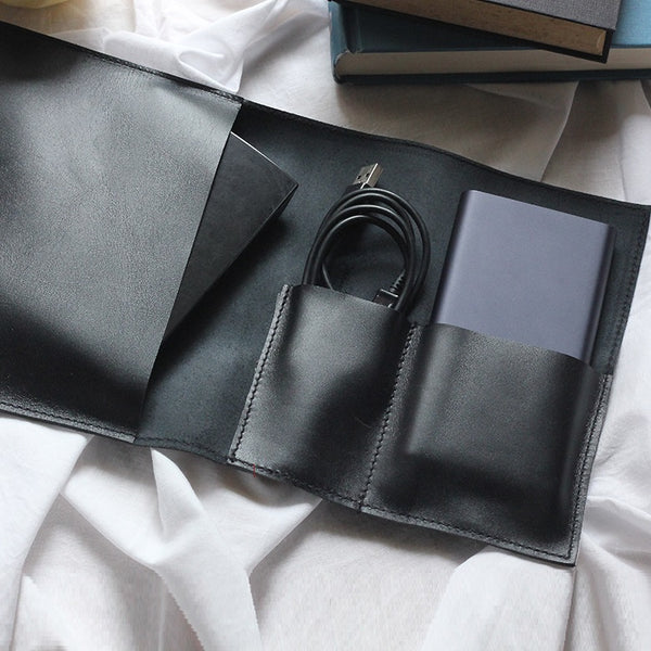 Leather Gadget Wrap - Black