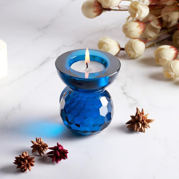 Glass Art Tealight Holder - Blue