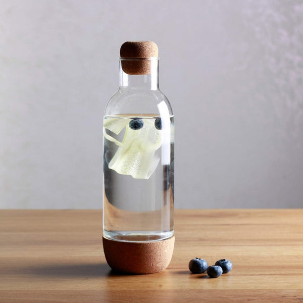 Everyday Glass Bottle With Cork Base and Lid