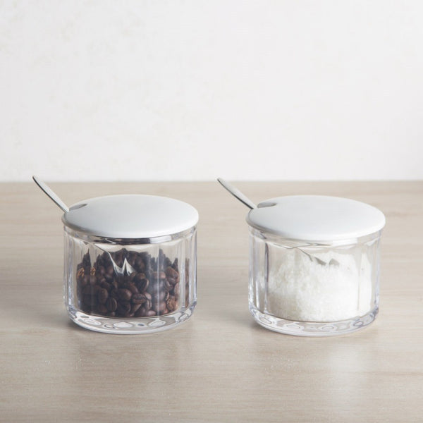 Glass Condiment Jars with Porcelain Lid, Set of 2