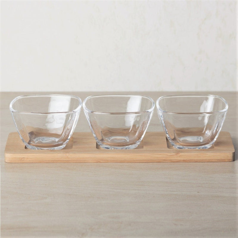 Glass Serving Bowls with Bamboo Base