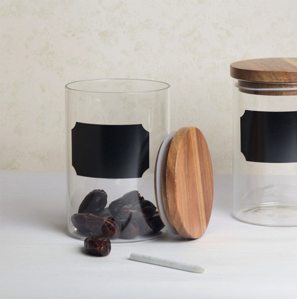 Glass Jar with Blackboard Decal and Chalk