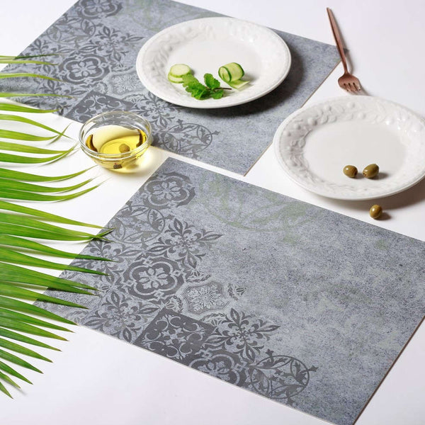 Vinyl Placemats, Set of 2 - Grayed Motifs