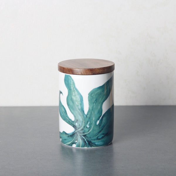 Patterned Storage Jar with Lid - Green Leaf