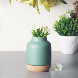Ceramic Vase with Cork Bottom Small - Green