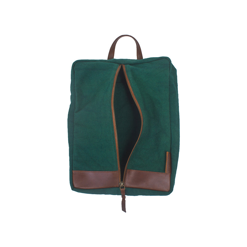 Leather & Canvas Shoe Sack - Green