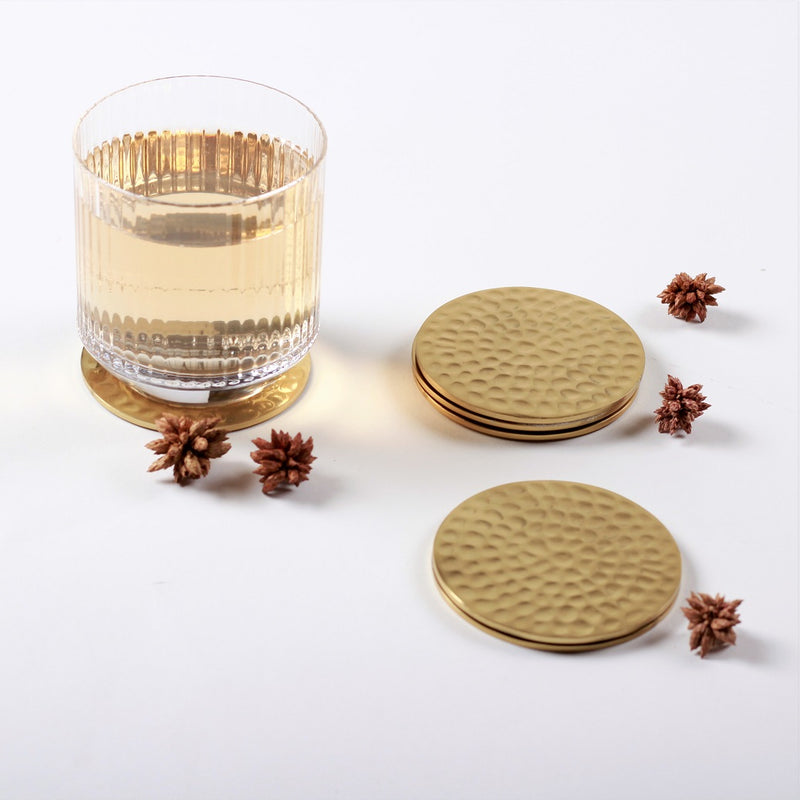 Hammered Metal Coasters, Set of 6 - Brass