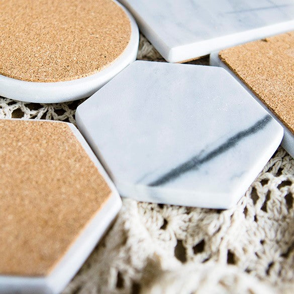 Hexagon Marble Coasters, Set of 2