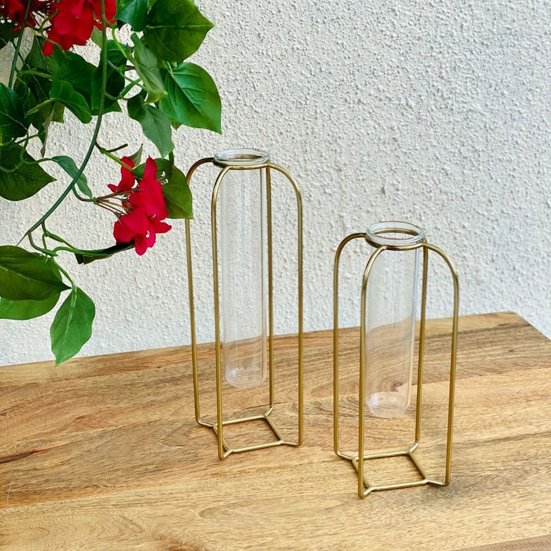 Cora Test Tube Vase Small - Gold