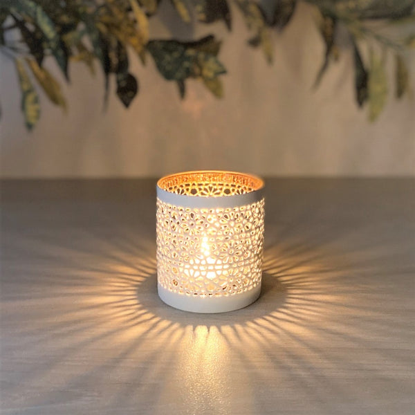 Sparkle Tealight Holder - White