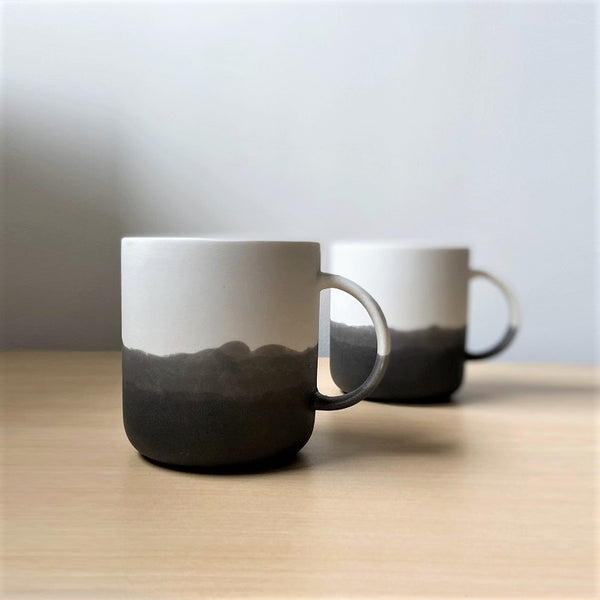 Monochrome Porcelain Mugs, Set of 2