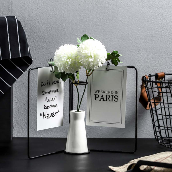 Messenger Vase with Double Photoholder - Black