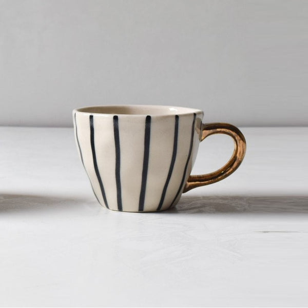 Iris Black Vertical Striped Handmade Ceramic Cup
