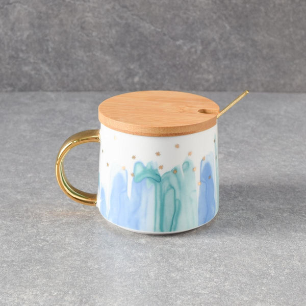 Jacob Blue Ceramic Mug with Lid & Spoon