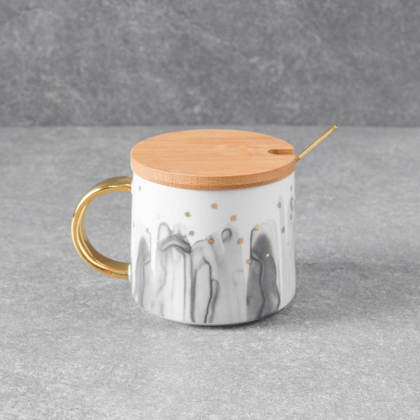 Jacob Black Ceramic Mug with Lid & Spoon