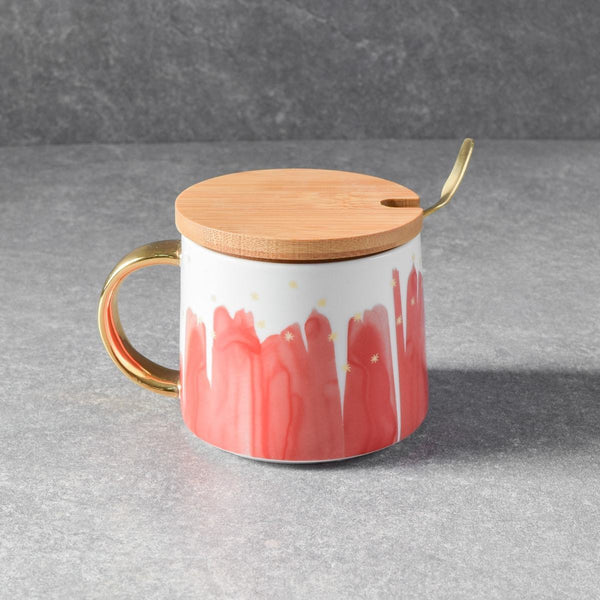 Jacob Red Ceramic Mug with Lid & Spoon