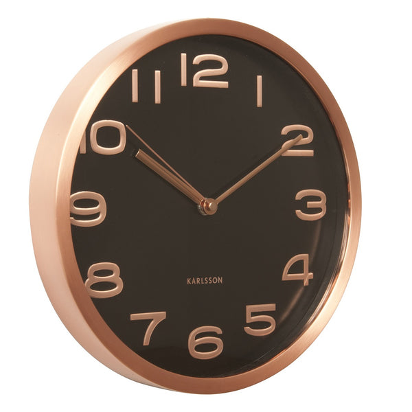 Maxie Copper Numbers Wall Clock  - Black