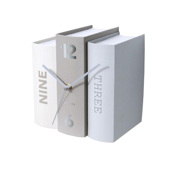 Books Table Clock - Taupe Grey