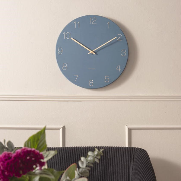 Charm Engraved Numbers Wall Clock, Medium - Blue