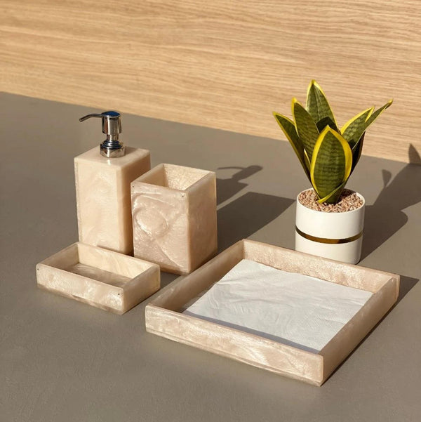 Lava Bathroom Set - Pearl White