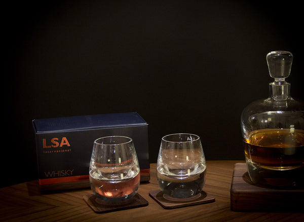 Islay Whiskey Tumblers & Walnut Coasters - Modern Quests