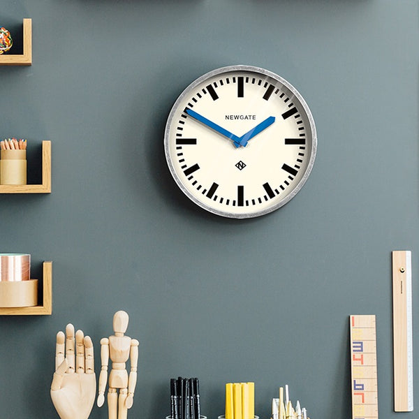 Luggage Galvanised Wall Clock - Blue Hands