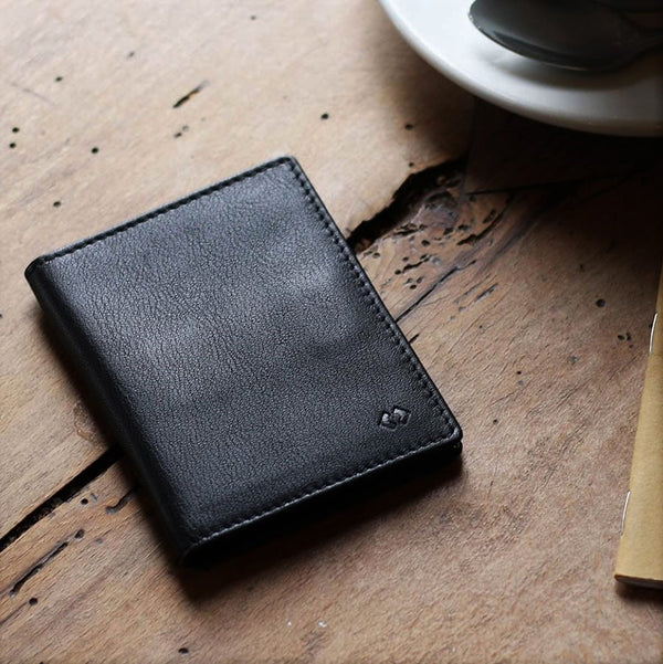 Leather Bifold Wallet RFID - Black