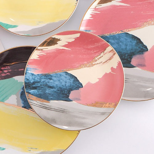 Splash Porcelain Quarter Plate - Pink Blue