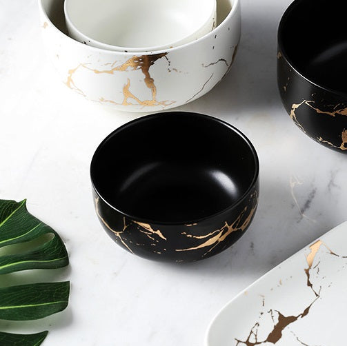 Snack Bowl - Black Marble