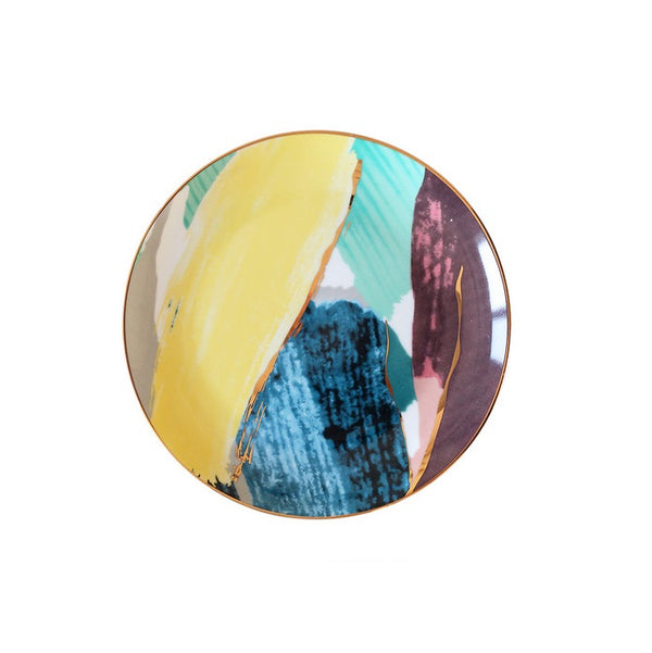 Splash Porcelain Quarter Plate - Yellow Blue