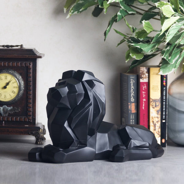 Lion Faceted Sculpture - Black