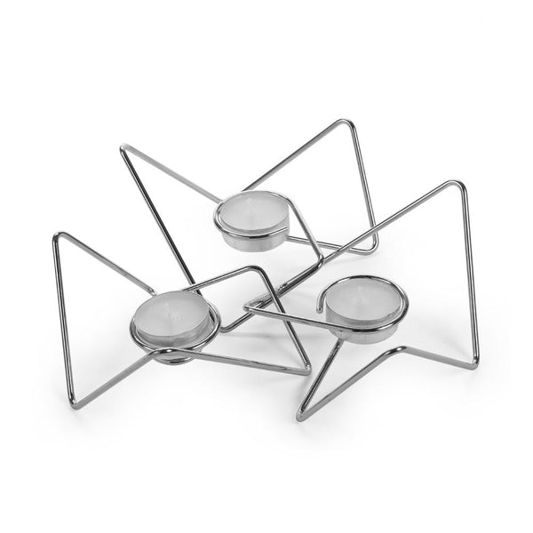 Triangular Loop Tealight Holders, Set of 3 - Chrome