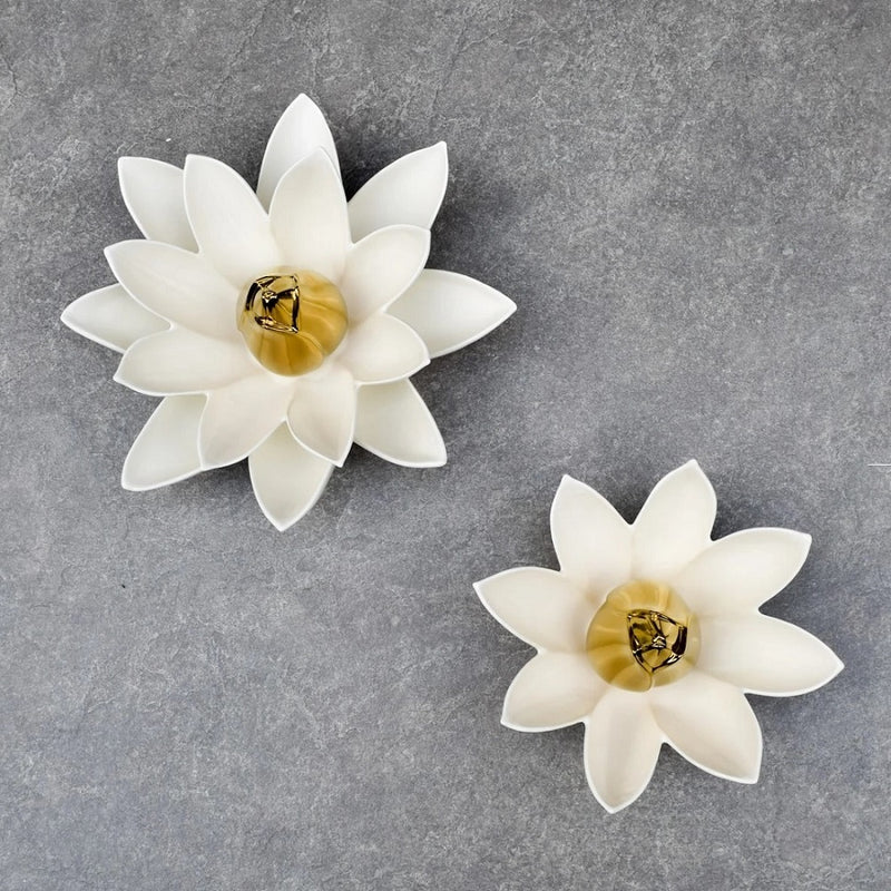 Lotus Flower Ceramic Wall Sculpture Small