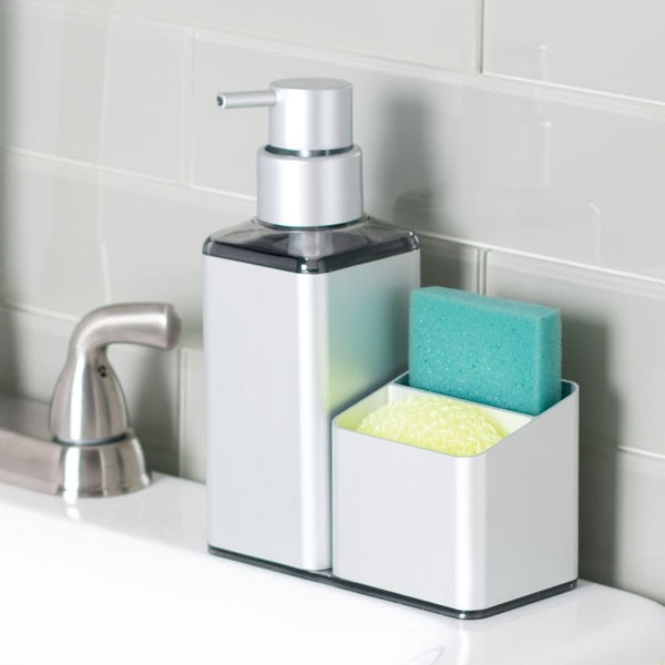 Metro Soap Pump and Sponge Caddy - Silver