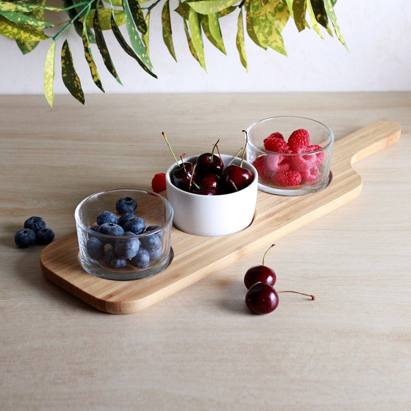 Trio Serving Bowls with Wooden Paddle