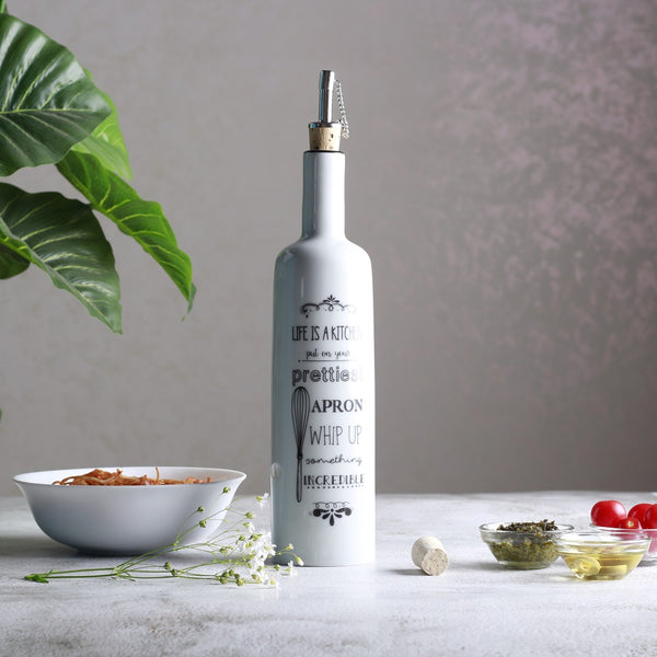 Be Happy Oil Bottle with Dispenser - Life is a Kitchen