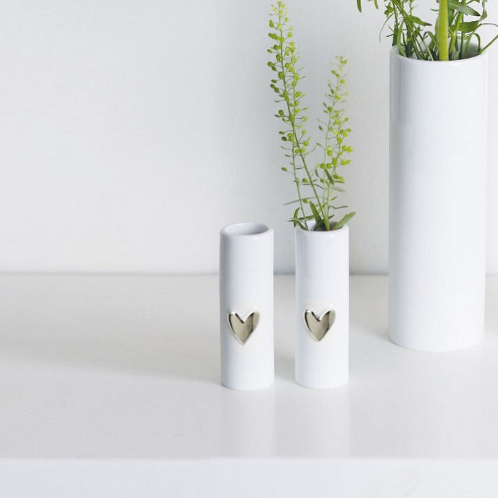 Heart Mini Vases, Set of 2 - Silver