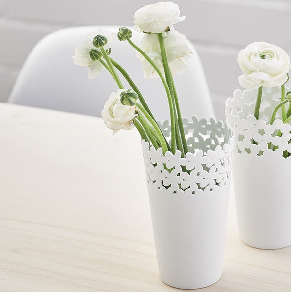 Porcelain Vase Medium - White Flowers