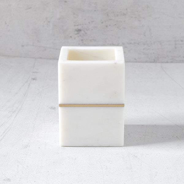 Marble Pen Holder with Brass Inlay