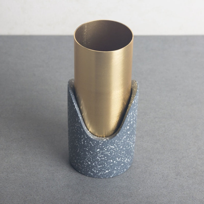 Fuse Speckled Vase - Grey Gold