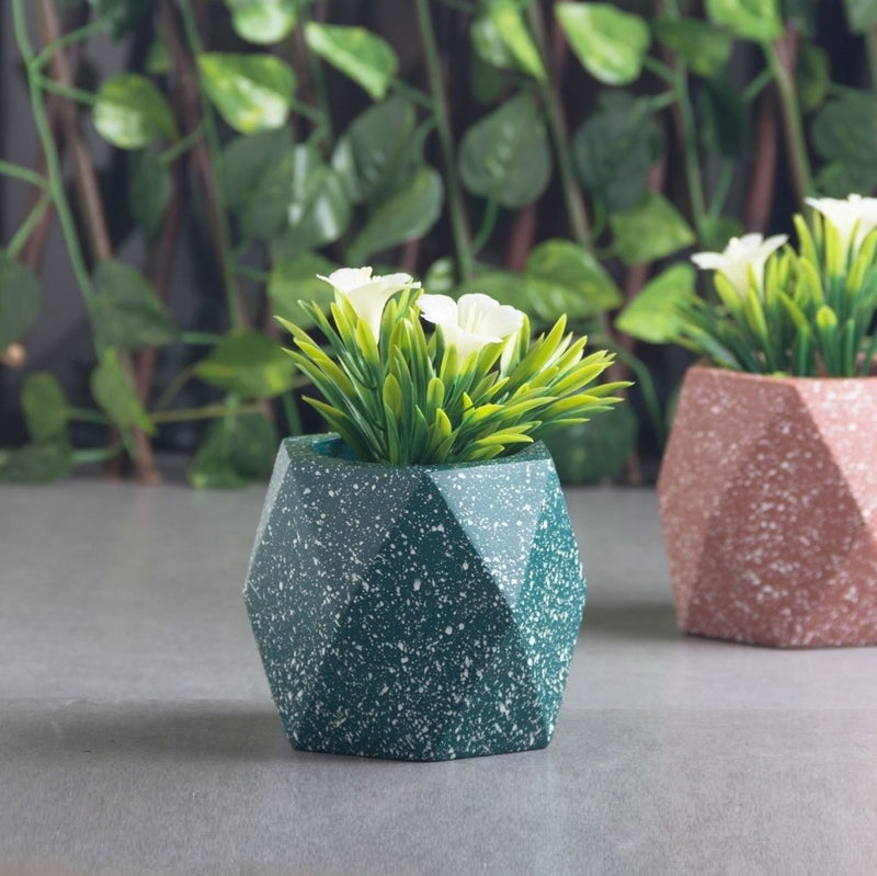 Prism Medium Speckled Planter - Bottle Green