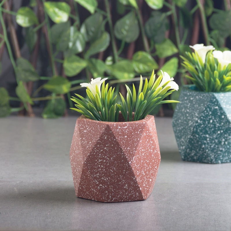Prism Medium Speckled Planter - Burnt Orange