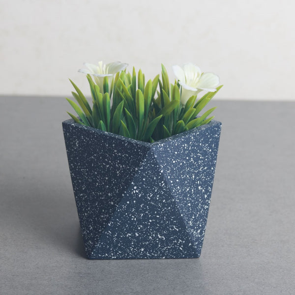 Trapeze Medium Speckled Planter - Navy