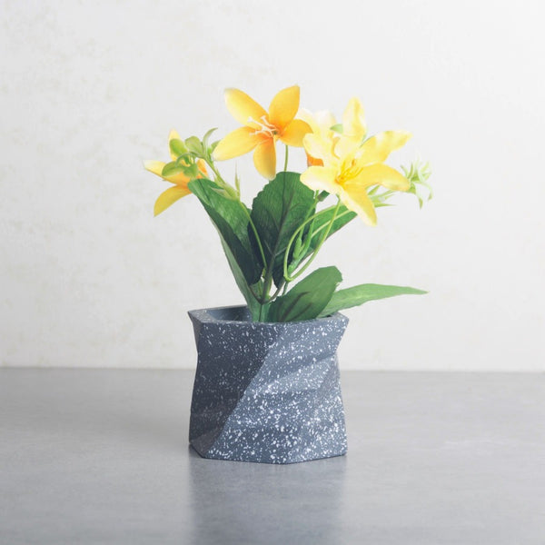 Twist Small Speckled Planter - Grey