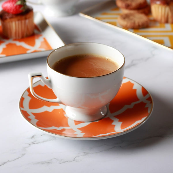 Morocco Cup & Saucer Set - Orange