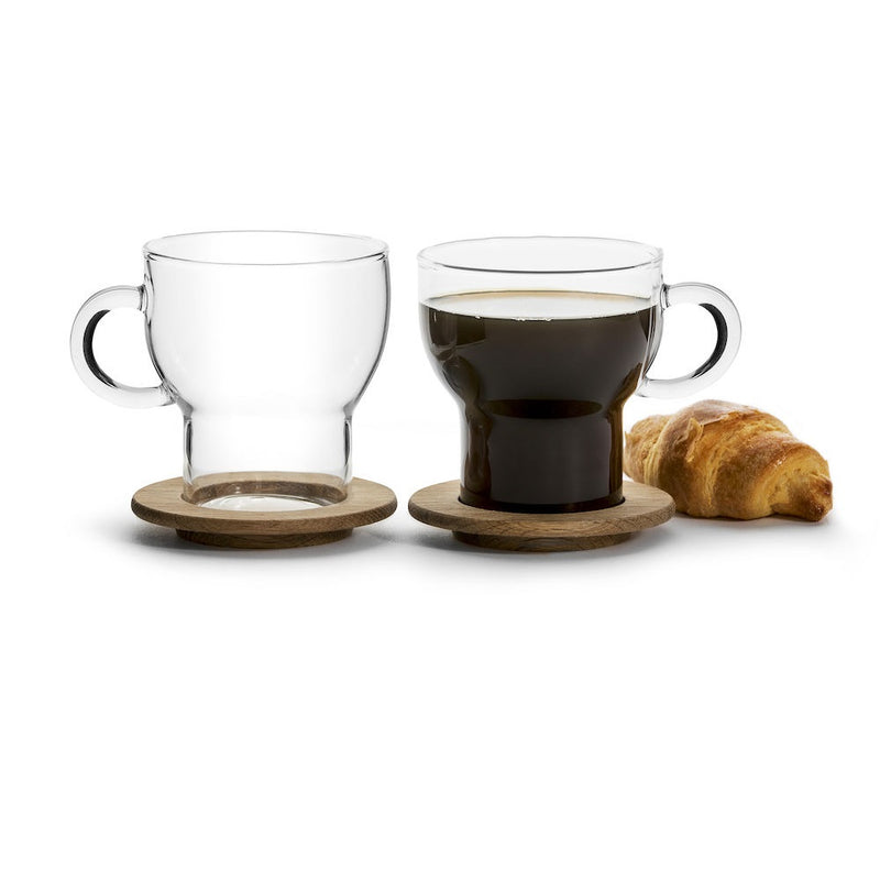 Nature Minimal Glass Mugs with Wooden Base, Set of 2